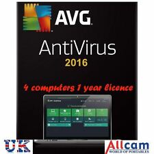 AVG Antivirus 2016 PC Security Software 4 Users 1 Year Licence (Download)
