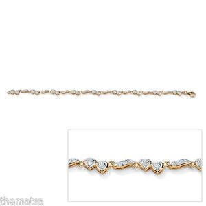 Womens 18k Gold Over Sterling Silver Diamond Heart Ankle