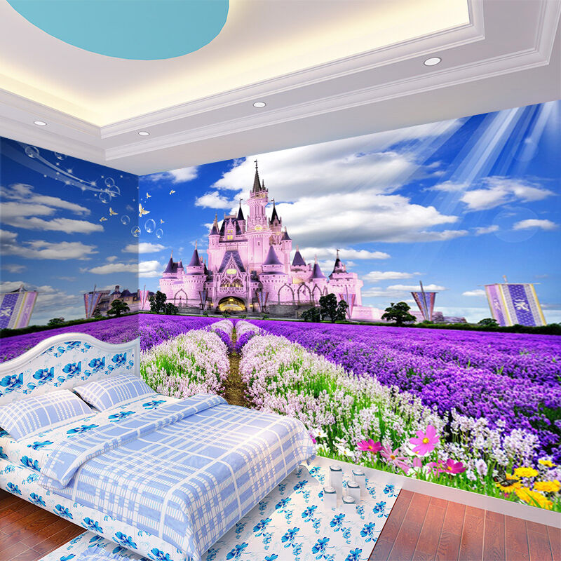 3D Could Lavender Castle Wall Paper wall Print Decal Wall Deco Indoor wall Mural
