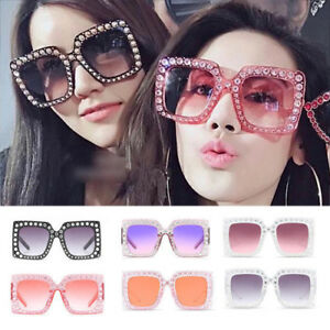 c67a7f236d7f Image is loading Luxury-Women-Oversized-Square-Sunglasses-Glasses-Bling- Frame-