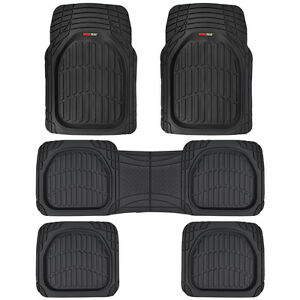 3 Row Rubber SUV VAN Car Floor Mats Deep Dish All Weather Heavy Duty Black 5pc