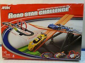 ARTIN Road Star Challenge Battery Operated Slot Car Racing Play Set 1:43 Porsche