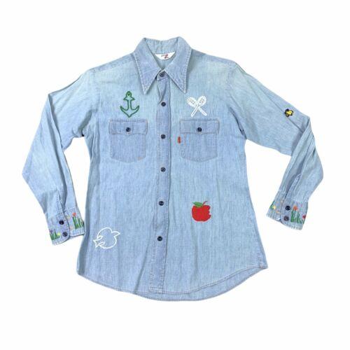 Vintage 1970s Levi\u2019s Orange Tab Indigo Blue Denim Safari Jacket with Folk Art Hand Embroidered StitchSZ S70s Customized Riding Fitted Boho