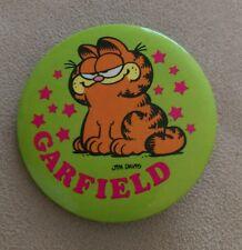 Vintage Pin Button Pinback 1978 Kat's Meow Jim Davis Garfield Green stars cute