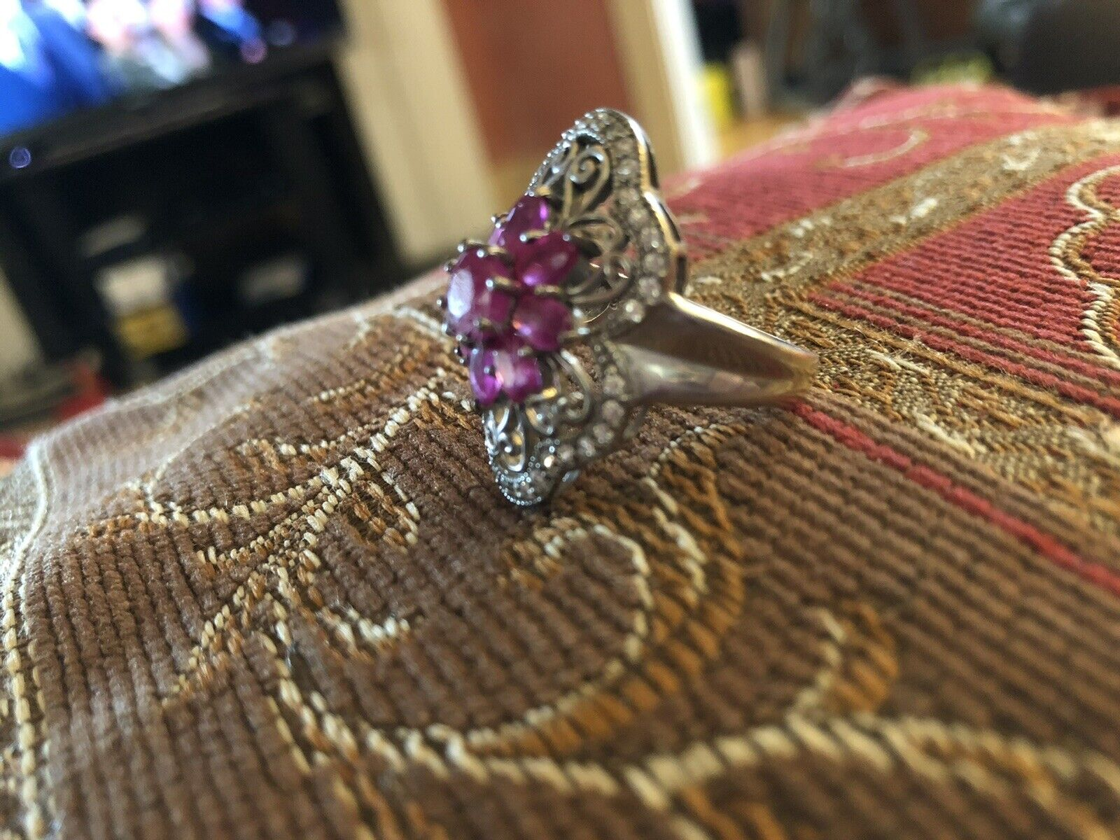 Sterling Silver Ruby Floral Flower Ring - image 7