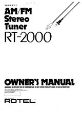 Rotel RT-2000 Tuner Owners Instruction Manual