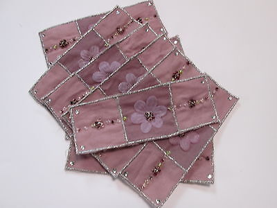Confezione Da 10-viola Fiore Perline Ricamato Banner Card Making Motivi # 13e126-
