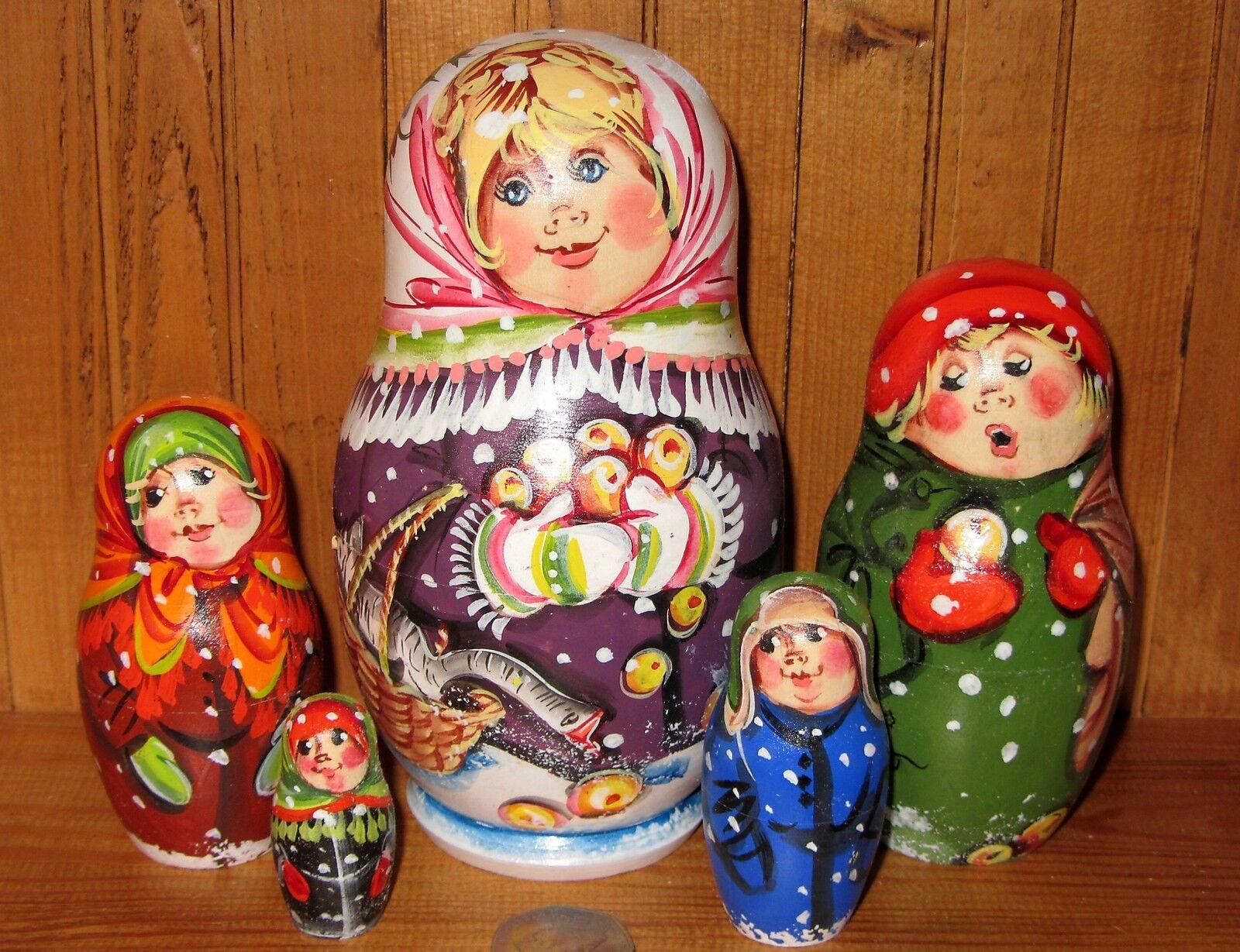 Russische Verschachtelung Puppe 5 Mama & Gänse Winter Familie Matt Matryoshka