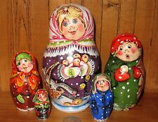 Russian nesting doll 5 Mama & Geese Winter FAMILY MATT MATRIOSHKA SERGEYEVA