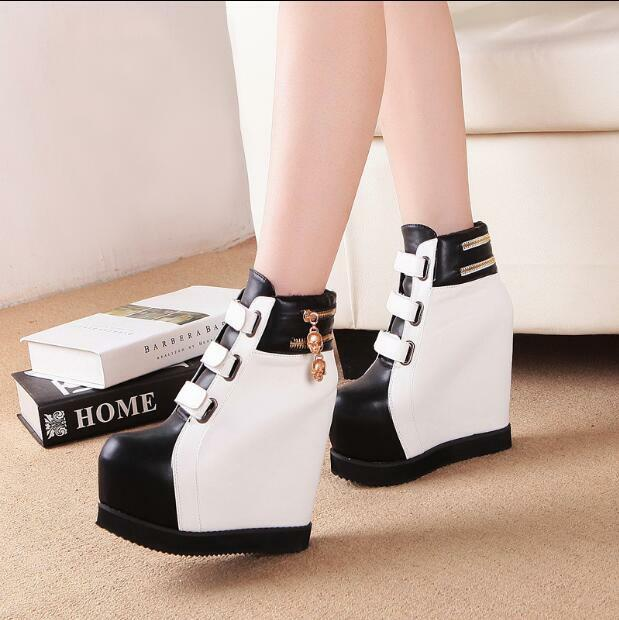 Womens Mixed color Wedge High Heels Platform Ankle Boots Warm Knight shoes V841