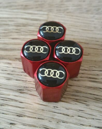 AUDI MATTE RED METAL VALVE DUST CAPS S LINE TOP QUALITY IDEAL EXTRA S LINE RS TT