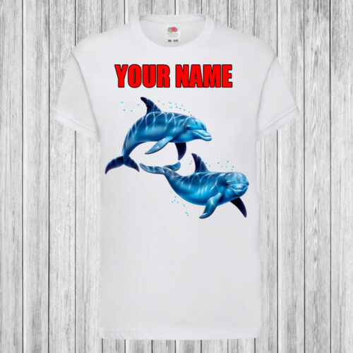 Personalized with name Kids T-Shirt DTG Dolphins Swimming Children