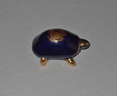 Turtle Trinket Limoge France Cobalt Blue Gold Trim Cayman Vintage Pill Box 2""