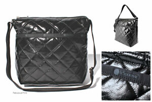 LeSportsac-Black-Crinkle-Patent-Quilted-Small-Cleo-Crossbody-Bag-Free-Ship-NWT
