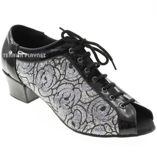 TPS Black /& Silver Latin Ballroom Salsa Custom-made Dance Shoes D583