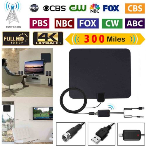 300 Miles Range HDTV Clear View Antenna Clearview Digital Flat 4K 1080P TV