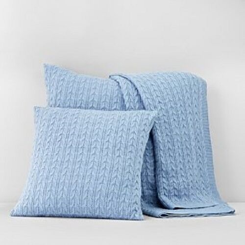 1872 Blue Wool Blend Cable Knit Decorative Pillow Sham Bedding Euro Ebay