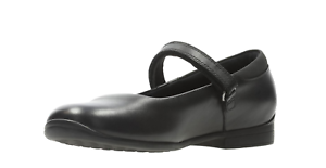 GIRLS CLARKS JAMIE STAR BLACK LEATHER RIP TAPE SHOES