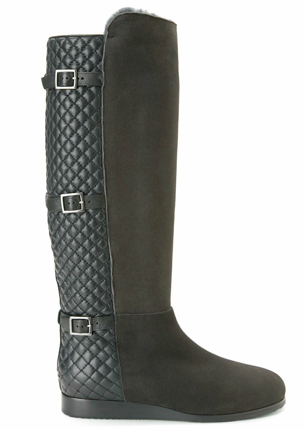 1790 Jimmy Choo Fur Lined Tall Knee Quilted Flat Riding Boots CHACE Booties 40
