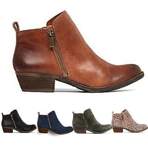 3a6e7af11fab Womens Girl Low Block Chunky Heels Short Ankle Boots Booties Zip ...