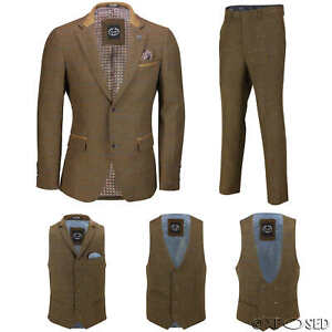 Genial Men Tweed Check 3 Piece Suit Blazer Trouser Waistcoat Sold As Tailored Separates