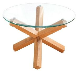 Trend Solid Oak Round Glass Top Small Coffee Table Modern Occasional Table Ebay