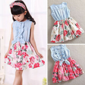 5fd7931551f3 Flower Girl Princess Dress Kid Baby Party Wedding Pageant Formal ...