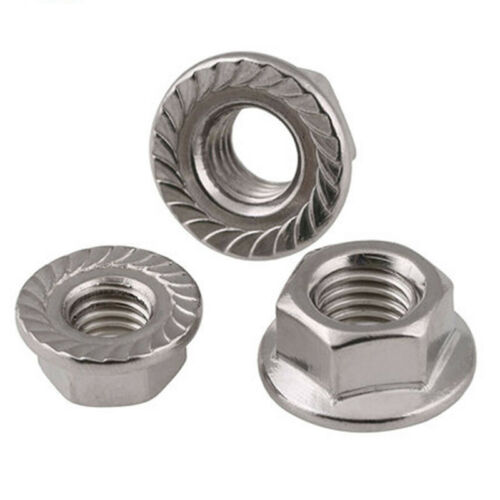 """UNC 1//2/""""-13 1//4/""""-20 3//8/""""-16 5//16/""""-18 Hex Serrated Flange Nuts 304 A2 Stainless"""