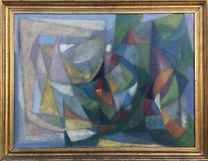Unbekannter-Kubist-Modern-Art-Midcentury-Farbige-Komposition-63-x-82-cm