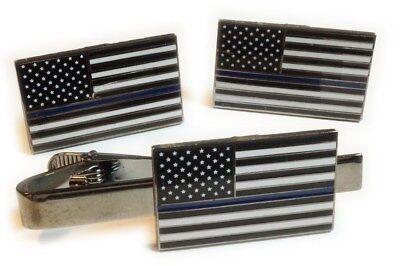 THIN BLUE LINE Fallen Police Officer Law Enforcement Cuff Links CUFFLINKS PAIR