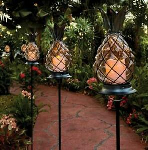 ... Outdoor Tropical Tiki Glass Pineapple Pathway Stake Candle