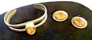 Heavy Sterling Silver Bracelet and  Earrings set w/ nice stone ~ FINE!!