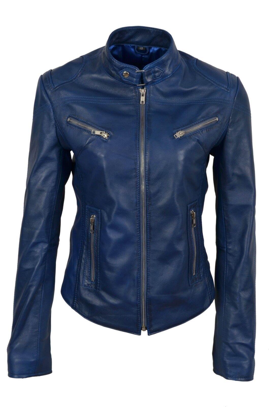 Nuevas Damas Chaqueta de cuero  de Lujo Azul Real Suave Napa De Diseño Estilo Motero  tienda en linea