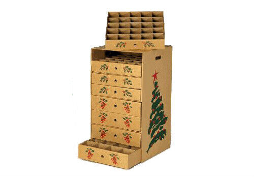 8 drawer christmas ornament storage box, corrugated cardboard