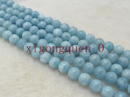 New Natural 6mm 8mm 10mm Blue Aquamarine Gemstone Loose Beads 15/'/'
