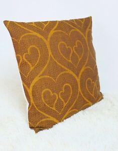 Retro-Cushion-Cover-18x18-034-Amazing-Original-60s-70s-Fabric-Brown-Vintage
