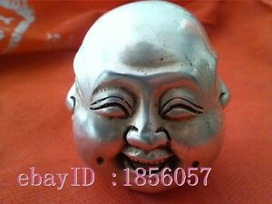 Old Collectibles Decorated Handwork Miao Silver Carve 4 Face Buddha Rare Statue
