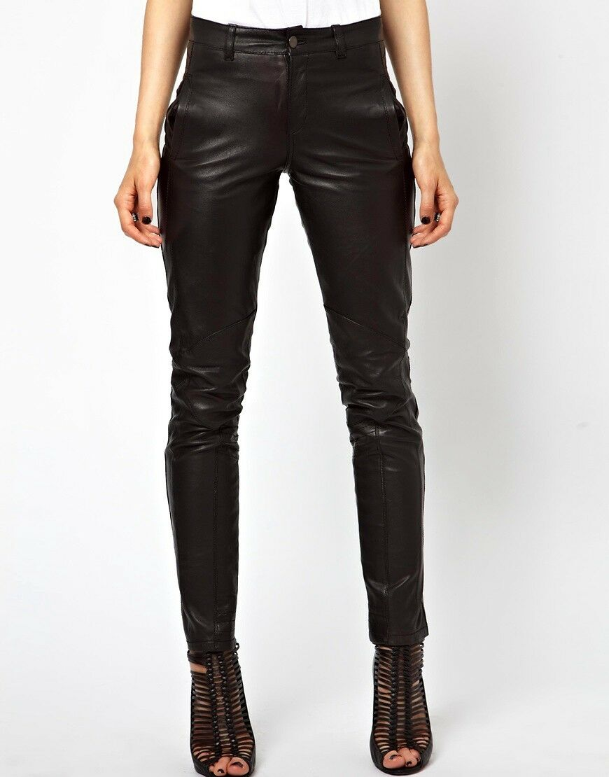 Women's Real Lamb Leather Slim Fit Pants Pants Slim Fit Trousers