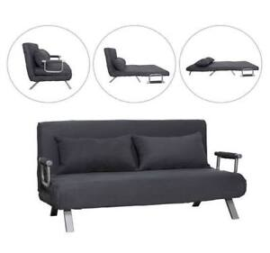 Convertible-Sofa-Bed-Sleeper-Suede-Couch-Lounge-Chair-Adjustable-w-Pillow-Grey