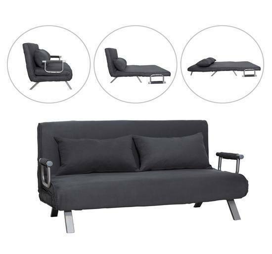 Convertible Sofa Bed Sleeper Suede Couch Lounge Chair Adjustable w/Pillow  Grey