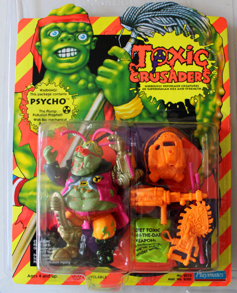 TOXIC CRUSADERS PSYCHO PLAYMATES 1991 MOC UNPUNCHED FIGURE  W/PROTECTIVE CASE