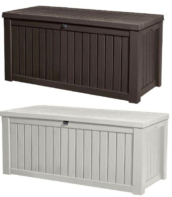 240 & Keter Rockwood 150 Gallon Patio Storage Bench Weatherproof Deck Box