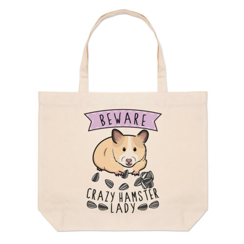 Beware Crazy Hamster Lady Large Beach Tote Bag Funny Animal Animal Shoulder