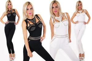 Overall-tuta-donna-sexy-scollatura-borchie-e-strass-cotone-jumpsuit-nuova
