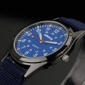 INFANTRY-Mens-Quartz-Wrist-Watch-Luminous-Analog-Sports-Military-Army-Blue-Nylon
