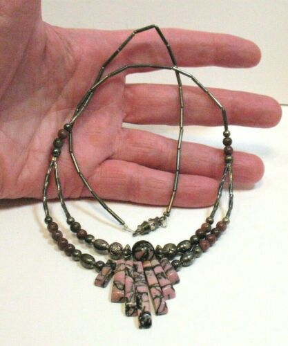 RHODONITE LIQUID SILVER NECKLACE VINTAGE