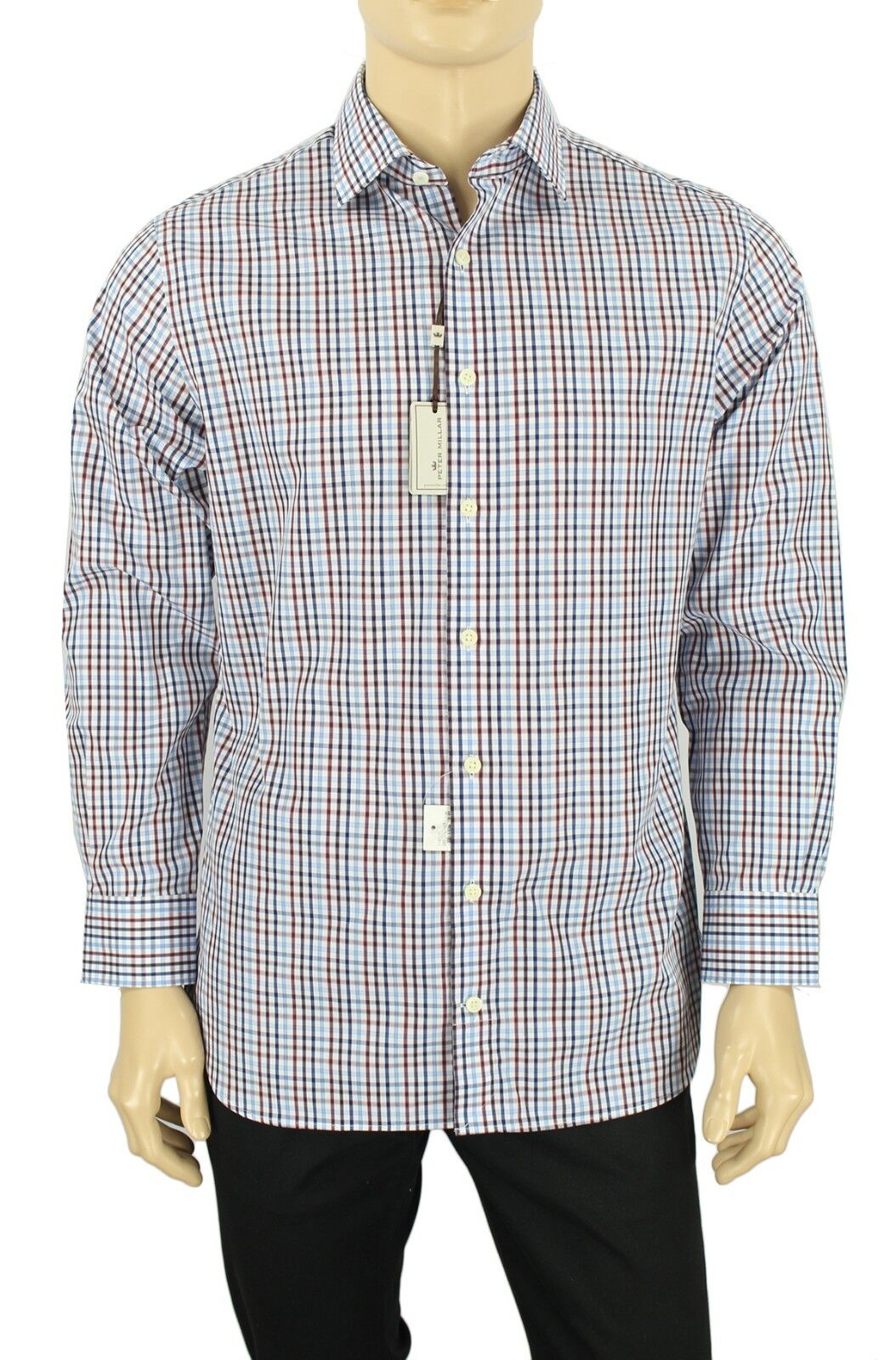 NEW  Herren PETER MILLAR REGULAR NANOLUXE EASY CARE PLAID DRESS SHIRT 16 32/33