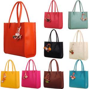 Image Is Loading Women Handbags Leather Shoulder Bag Candy Color Flowers