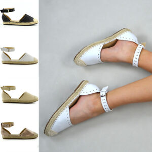 Womens-Espadrilles-Summer-Sandals-Ladies-Studded-Low-Wedge-Flatforms-Shoes-Size