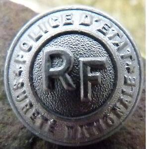 Bouton Alu Uniforme Police D'etat Rf Surete Nationale Diam.2cm Couleur Rapide